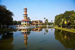 The Royal Residence (Phra Thinang) and Sages Lookout Tower (Ho W. Ithun Thasana) of the Thai royal Summer Palace of Bang Pa-in near Ayutthaya and Bangkok Stock Photos