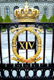 Royal residence in Stockholm. Gate with a gold crown in a Royal residence in Stockholm Royalty Free Stock Image