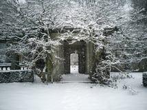 Royal roads university snow garden royalty free stock photography