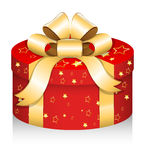 Royal Round Gift Box - Christmas Vector Illustration Stock Images