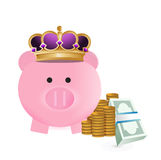 Royal savings. Illustration design over a white background Royalty Free Stock Photo