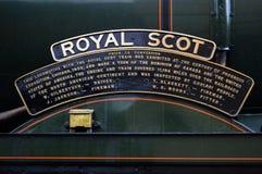 Royal Scot. Name plate Royal Scot at West Somerset railway Royalty Free Stock Image
