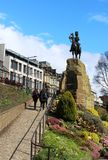 Royal Scot's Greys statue Princes Street Gardens. Royal Scot's Greys statue in Princes Street Gardens, Edinburgh, Scotland is a detailed bronze statue Stock Images