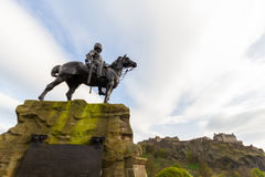 Royal Scots Greys Memorial in Edinburgh, Scotland. Edinburgh, Scotland - 19 April, 2017: Royal Scots Greys Memorial in Edinburgh, Scotland, with the Edinburgh Royalty Free Stock Image