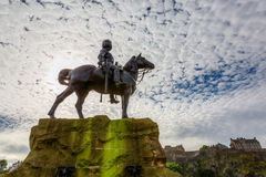 Royal Scots Greys Memorial in Edinburgh. Scotland, with the Edinburgh Castle in the background Stock Photography