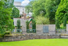 The Royal Scots War Memorial in West Princes Street Gardens in Edinburgh city centre, Scotland, UK. stock images