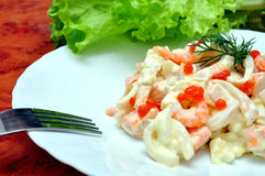 Royal Seafood Salad Royalty Free Stock Images