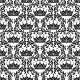 Royal Seamless Pattern. Crown and floral vintage tracery isolate royalty free illustration