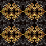 Royal seamless pattern with deep golden and silver gradient decorative ornament on black background Royalty Free Stock Photo