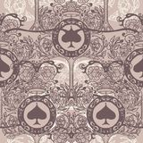 Royal seamless pattern with floral ornament, spades and crowns Royalty Free Stock Photos