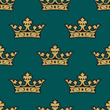 Royal seamless pattern with golden crowns Royalty Free Stock Image