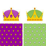 Royal Set: seamless pattern for mantle and a Golden Crown for Ki Royalty Free Stock Photos