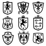 Royal shields, nobility heraldry coat of arms vector set Stock Image