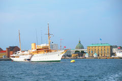 The Royal ship is in the harbour in front of Amalienborg in Cope Stock Image
