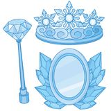 Royal  Snow Queen Accessories Set. Royal Fantasy Winter Magic Blue Gem Snow Queen Accessories Set Stock Photography