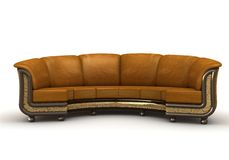 The royal  sofa. Brown Leather  sofa over the white background Stock Photo