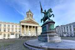 Royal Square - Brussels, Belgium. Godfrey of Bouillon statue and Church of Saint Jacques-sur-Coudenberg in Royal Square, Brussels, Belgium Royalty Free Stock Photography
