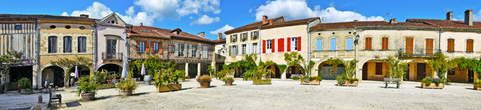Royal square of Labastide d Armagnac panorama. Panorama of Royal square of Labastide d Armagnac fortified town, typical ancient bastide in Landes, Aquitaine Royalty Free Stock Photo