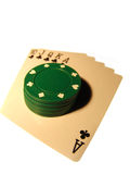 Royal straight flush. Top poker hand wit chips Royalty Free Stock Photo