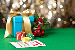 Royal straight flush in Christmas setting royalty free stock photography