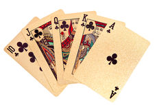 A royal straight flush golden playing cards poker hand Stock Photo