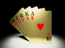 A royal straight flush hand with money symbol/ Stock Photography