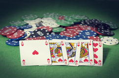Royal Straight Flush of heart Stock Photography