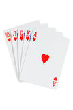 Royal straight flush playing cards Stock Images