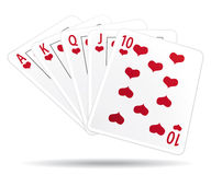 Royal straight flush playing cards. Royalty Free Stock Photos