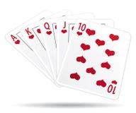 Royal straight flush playing cards. Casino Royal straight flush playing cards. Luck illustration vector illustration