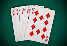 A royal straight flush playing cards poker hand Royalty Free Stock Images