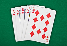 A royal straight flush playing cards poker hand Royalty Free Stock Photos