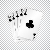 A royal straight flush playing cards poker hand in clubs vector illustration