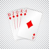 A royal straight flush playing cards poker hand in diamonds.  Stock Photos