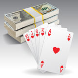 A royal straight flush playing cards Royalty Free Stock Photography