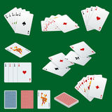 A royal straight flush playing cards poker hand in hearts. Poker cards set. Playing cards set. Royalty Free Stock Photography