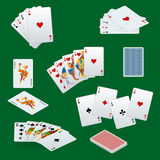 A royal straight flush playing cards poker hand in hearts. Poker cards set. Playing cards set. Stock Image