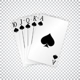 A royal straight flush playing cards poker hand in spades.  Royalty Free Stock Image