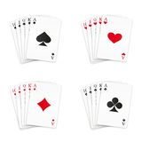 Royal straight flush playing cards set Stock Photo