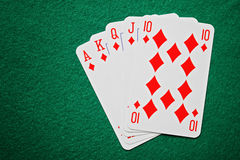 Royal straight flush poker cards Royalty Free Stock Photos