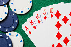 Royal straight flush poker cards Royalty Free Stock Photo