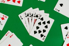 royal straight flush spade, poker card royalty free stock images
