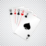 A royal straight playing cards poker hand.  Royalty Free Stock Image