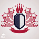 Royal stylized vector graphic symbol. Shield with 3d flying star Stock Image