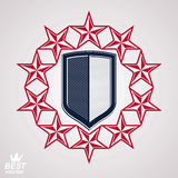 Royal stylized vector graphic symbol. Shield with 3d stars aroun Stock Photos