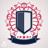 Royal stylized vector graphic symbol. Shield with 3d stars and d. Ecorative red ribbon. Clear eps8 coat of arms – military and protection idea Stock Photography