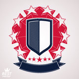 Royal stylized vector graphic symbol. Shield with 3d stars and d. Ecorative red ribbon. Clear eps8 coat of arms – military and protection idea Royalty Free Stock Photography