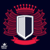 Royal stylized vector graphic symbol. Shield with 3d stars and d. Ecorative red ribbon. Clear eps8 coat of arms – military and protection idea Stock Photo