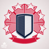Royal stylized vector graphic symbol. Shield with 3d stars Royalty Free Stock Photo