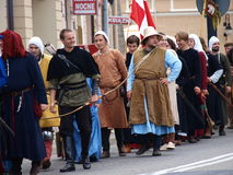 Royal suite, Lublin, Poland. The march-past of the royal suite and jugglers. The annual Jagiellonian Fair (12th-14st August 2011), Lublin, Poland, August 13th Stock Photography